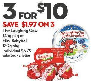 The Laughing Cow  133g Pkg or  Mini Babybel  120g Pkg
