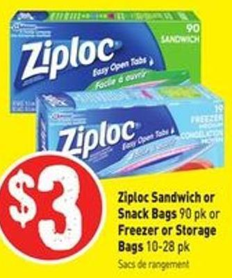 Ziploc Sandwich or Snack Bags 90 Pk or Freezer or Storage Bags 10-28 Pk
