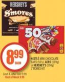 Nestlé Mini Chocolate Bars (50's) - Aero (569g) or Hershey's (594g) S'mores Kit