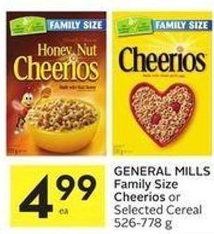 General Mills Family Size Cheerios or Selected Cereal 526-778 g