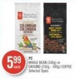 PC Whole Bean (340g) or Ground (250g - 340g) Coffee
