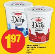 Hans Dairy Natural Yogurt 2% or 3.2%