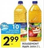 Rougemont Apple Juice 2 L - 10 Air Miles Bonus Miles