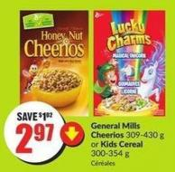 General Mills Cheerios 309-430 g or Kids Cereal 300-354 g