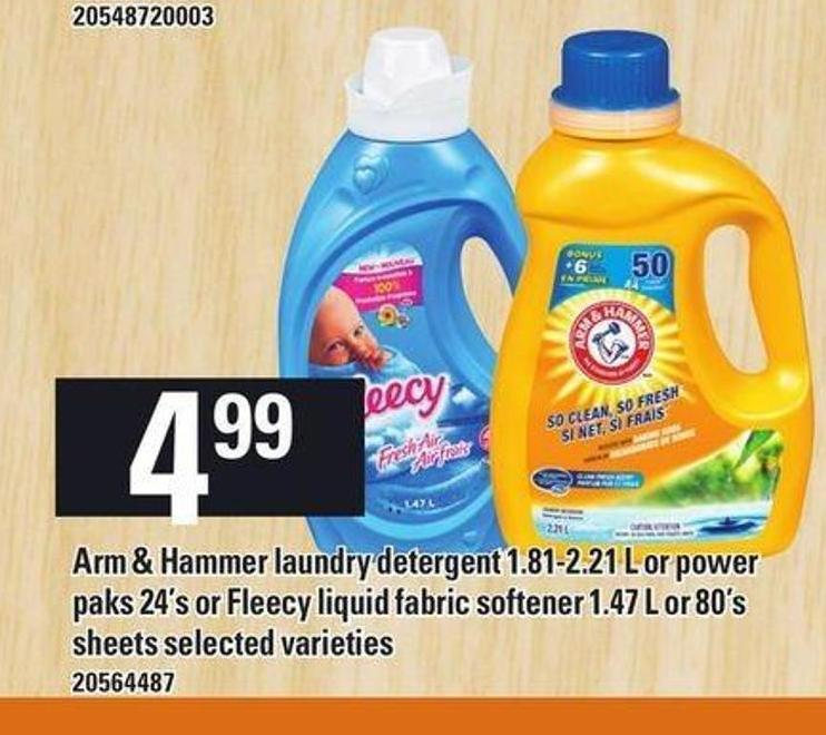 Arm & Hammer Laundry Detergent 1.81-2.21 L Or Power Paks 24's Or Fleecy Liquid Fabric Softener 1.47 L Or 80's Sheets
