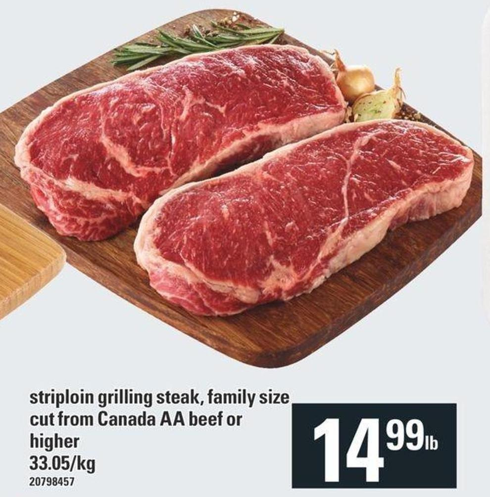 Striploin Grilling Steak - Family Size Cut From Canada Aa Beef Or Higher
