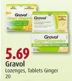 Gravol Lozenges - Tablets Ginger 20