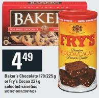 Baker's Chocolate 170/225 G Or Fry's Cocoa 227 G