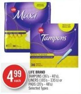 Life Brand Tampons (36's - 40's) - Liners (105's - 135's) or Pads (20's - 48's)