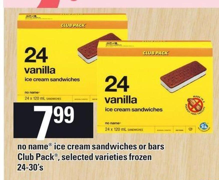 No Name Ice Cream Sandwiches Or Bars Club Pack - 24-30's