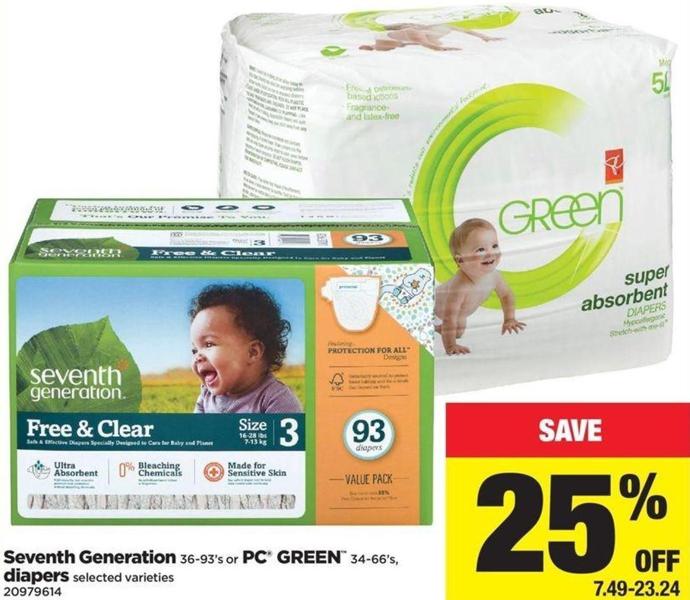 Seventh Generation 36-93's Or PC Green 34-66's - Diapers