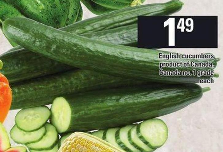 Seedless Cucumbers Product Of Ontario on sale | Salewhale.ca