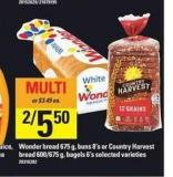 Wonder Bread 675 g - Buns 8's or Country Harvest Bread 600/675 g - Bagels 6's