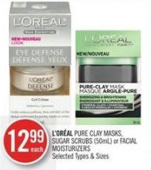 L'oréal Pure Clay Masks - Sugar Scrubs (50ml) or Facial Moisturizers