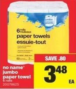 No Name Jumbo Paper Towel - 6 Rolls