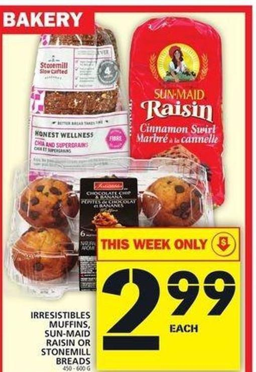 Irresistibles Muffins - Sun-maid Raisin Or Stonemill Breads