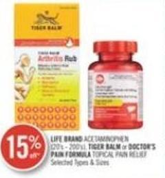 Life Brand Acetaminophen - Tiger Balm Or Doctor's Pain Formula Topical Pain Relief