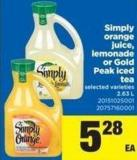 Simply Orange Juice - Lemonade Or Gold Peak Iced Tea - 2.63 L