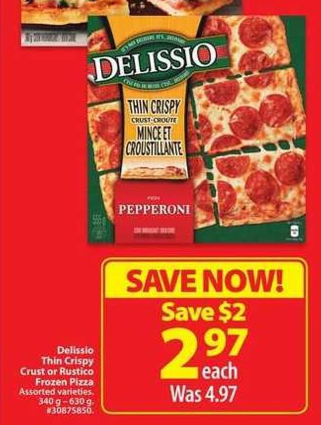 Delissio Thin Crispy Crust or Frozen Pizza