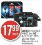 Schick Hydro Silk - Hydro 5 or Axe 4-piece Gift Sets