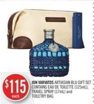 Jon Varvatos Artiasian Blu Gift Set Contains Eau De Toilette (125ml) - Travel Spray (17ml) and Toiletry Bag
