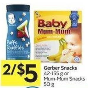 Gerber Snacks 42-155 g or Mum-mum Snacks 50 g