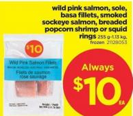 Wild Pink Salmon - Sole - Basa Fillets - Smoked Sockeye Salmon - Breaded Popcorn Shrimp Or Squid Rings - 255 G-1.13 Kg