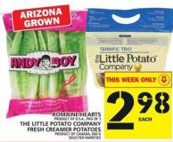 Romaine Hearts Or The Little Potato Company Fresh Creamer Potatoes