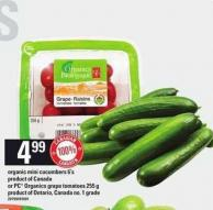 Organic Mini Cucumbers - 6's or PC Organics Grape Tomatoes - 255 g