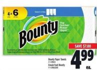 Bounty Paper Towels 4=6 Rolls