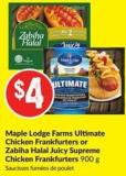Maple Lodge Farms Ultimate Chicken Frankfurters or Zabiha Halal Juicy Supreme Chicken Frankfurters 900 g Saucisses Fumées de Poulet
