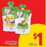 Parent's Choice Organic Pouches 128 ml