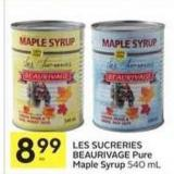 Les Sucreries Beaurivage Pure Maple Syrup 540 mL