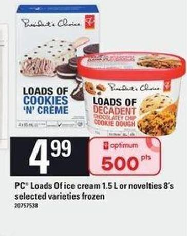 PC Loads Of Ice Cream 1.5 L Or Novelties 8's