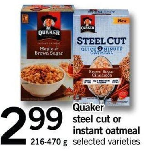 Quaker Steel Cut Or Instant Oatmeal - 216 - 470 G