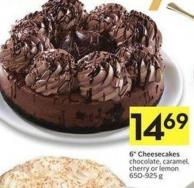 6in Cheesecakes Chocolate - Caramel - Cherry or Lemon 650-925 g
