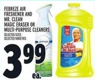 Febreze Air Freshener And Mr. Clean Magic Eraser or Multi-purpose Cleaners