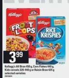 Kellogg's All Bran 450 G - Corn Flakes 440 G - Kids Cereals 320-440 G Or Raisin Bran 425 g