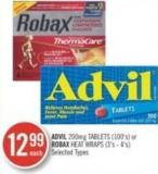 Advil 200 Mg - Tablets (100's) or Robax Heat Wraps (3's-4's)