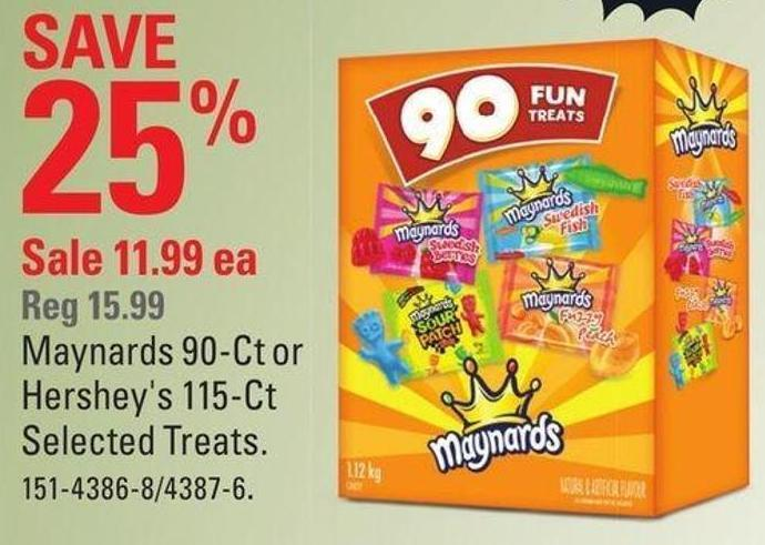 Maynards 90-ct or Hershey's 115-ct Selected Treats