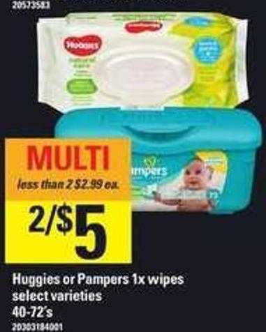 Huggies Or Pampers 1x Wipes - 40-72's