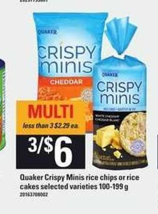 Quaker Crispy Minis Rice Chips Or Rice Cakes - 100-199 g