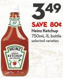 Heinz Ketchup 750ml-1l Bottle