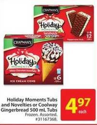 Holiday Moments Tubs and Novelties or Coolway Gingerbread 500 mL Tubs