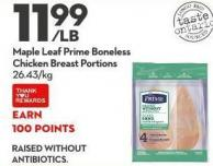 Maple Leaf Prime Boneless Chicken Breast Portions