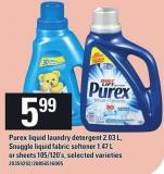 Purex Liquid Laundry Detergent 2.03 L - Snuggle Liquid Fabric Softener 1.47 L Or Sheets 105/120's