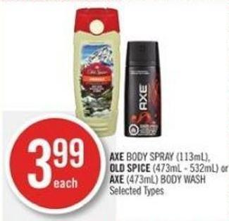 Axe Body Spray (113ml) - Old Spice (473ml - 532ml) or Axe (473ml) Body Wash