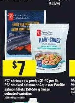 PC Shrimp Raw Peeled 31-40 Per Lb - PC Smoked Salmon Or Aquastar Pacific Salmon Fillets 150-567 G