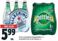 Perrier Or San Pellegrino Carbonated Water 6 X 1 L