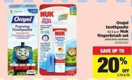 Orajel Toothpaste 42.5 G Or Nuk Fingerbrush Set